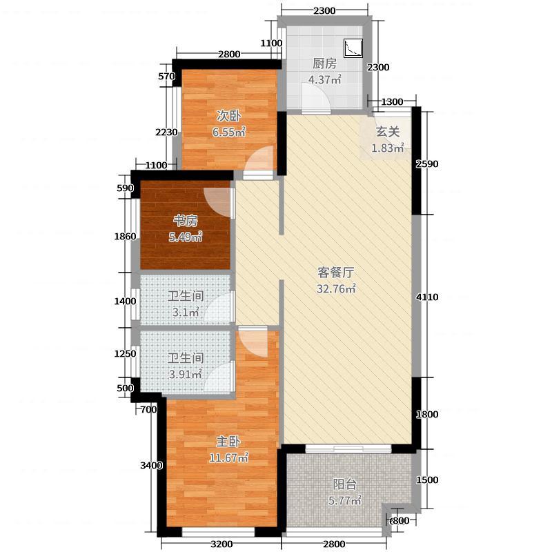 保利爱琴海80.00㎡11-13#A-1户型3室3厅2卫1厨