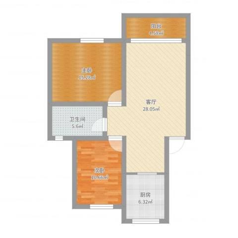 蒋巷北苑2室1厅1卫1厨88.00㎡户型图