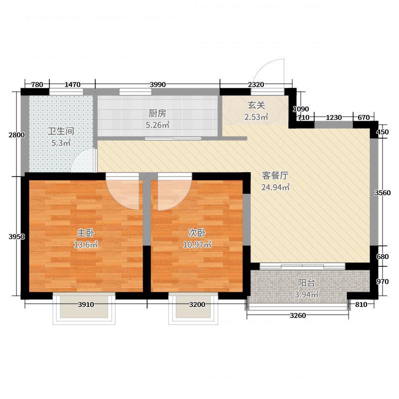 合肥铜冠花园80.01㎡2#、3#、4#B户型2室2厅1卫1厨