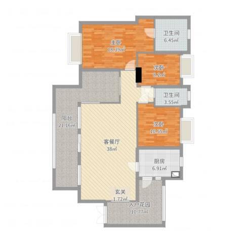 奕翠园3室2厅2卫1厨155.00㎡户型图