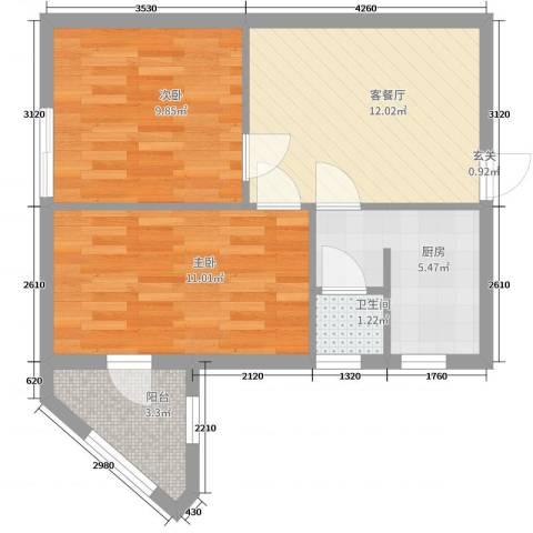 双旗杆东里2室2厅1卫1厨67.00㎡户型图