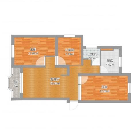 东陆新村四街坊3室2厅1卫1厨81.00㎡户型图