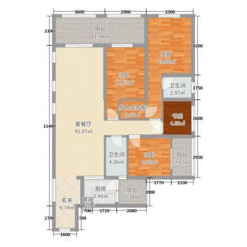 滨海俊园4室2厅2卫1厨177.00㎡户型图