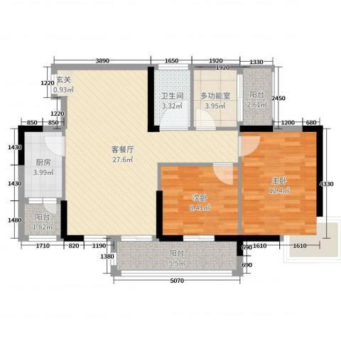 博达汇峰2室2厅1卫1厨87.00㎡户型图