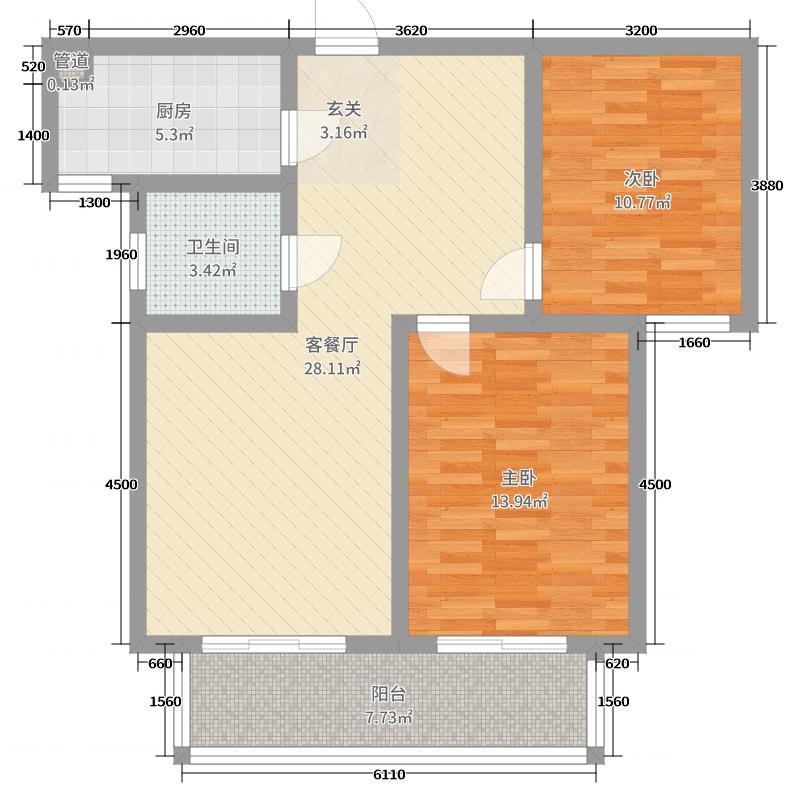 旭景悦城86.71㎡5#楼⑽户型2室2厅1卫1厨