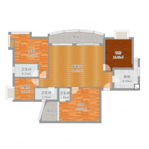 晓港湾4室2厅3卫1厨137.00㎡户型图