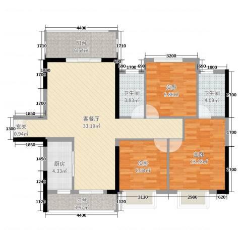 远洋・翡丽郡3室2厅2卫1厨116.00㎡户型图