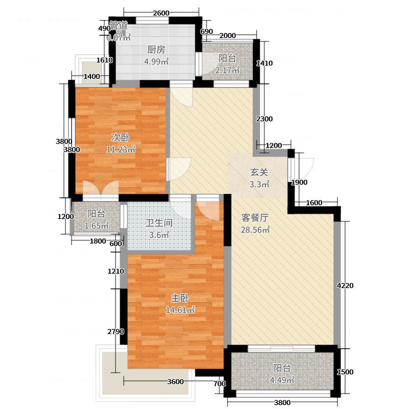 久和国际新城94.48㎡G2户型2室2厅1卫1厨