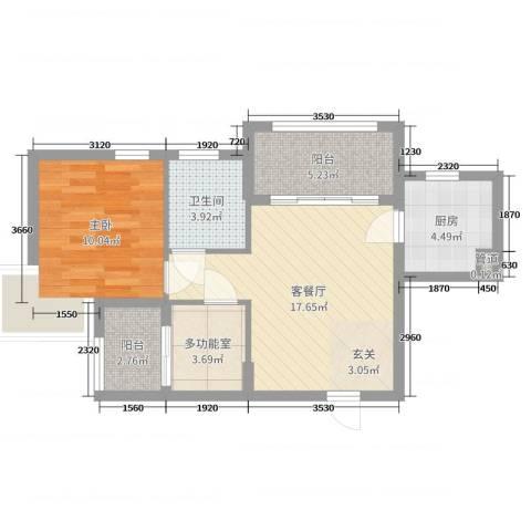 蜜橙1室2厅1卫1厨61.00㎡户型图