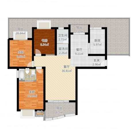 美堤雅城(二期)3室1厅2卫1厨146.00㎡户型图
