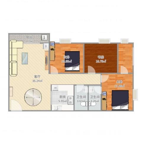 龙升豪苑3室1厅2卫1厨115.00㎡户型图