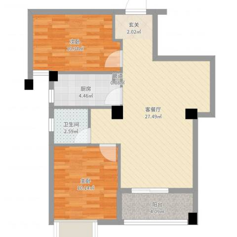荣凯天阶2室2厅1卫1厨74.00㎡户型图