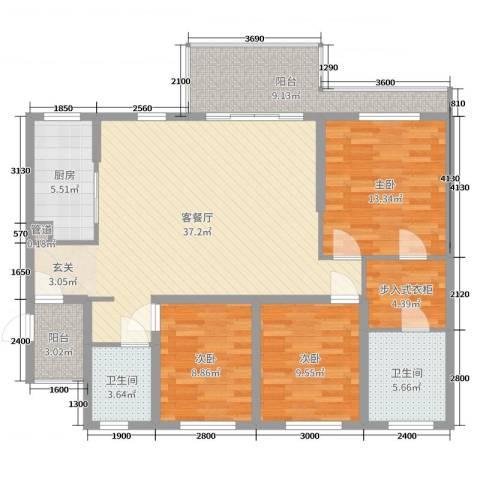 滨海俊园3室2厅2卫1厨125.00㎡户型图
