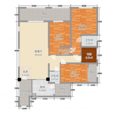 滨海俊园4室2厅2卫1厨170.00㎡户型图