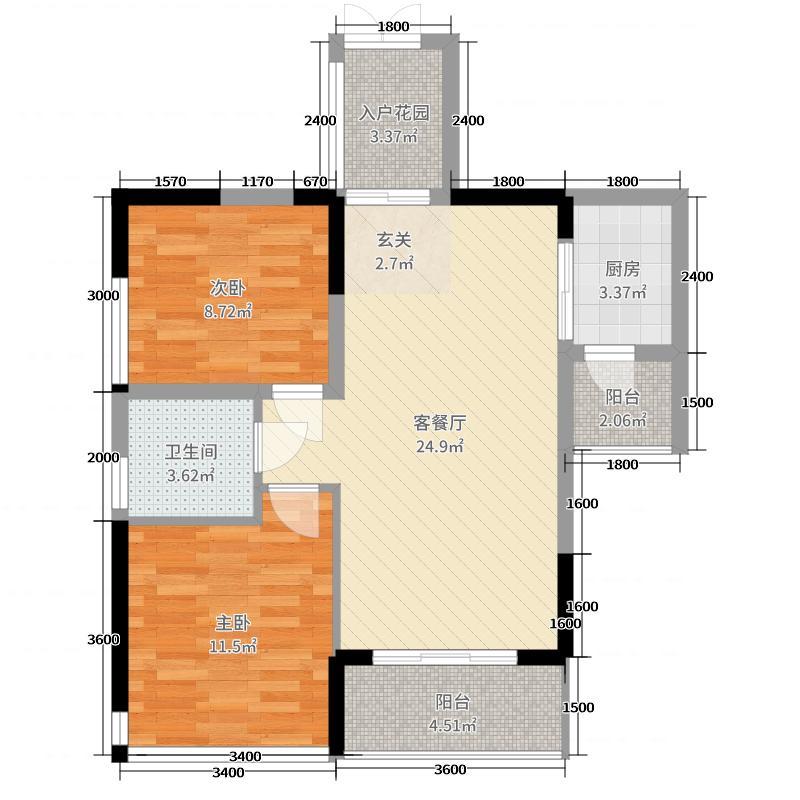 杜鹃文苑80.00㎡户型2室2厅1卫1厨