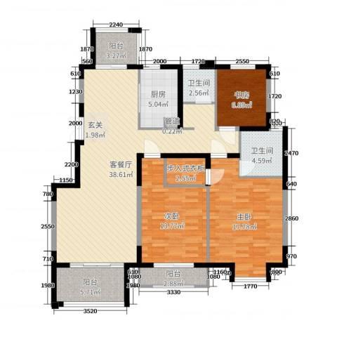 边城香榭里8号3室2厅2卫1厨130.00㎡户型图