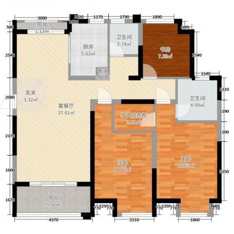 边城香榭里8号3室2厅2卫1厨125.00㎡户型图