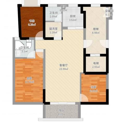 明珠山庄3室2厅2卫1厨95.00㎡户型图