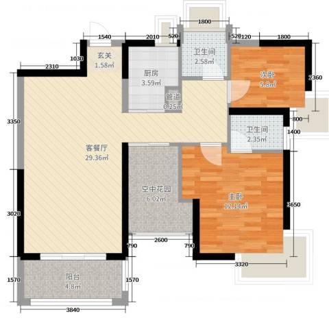 鸿晖・依岸康堤2室2厅2卫1厨89.00㎡户型图
