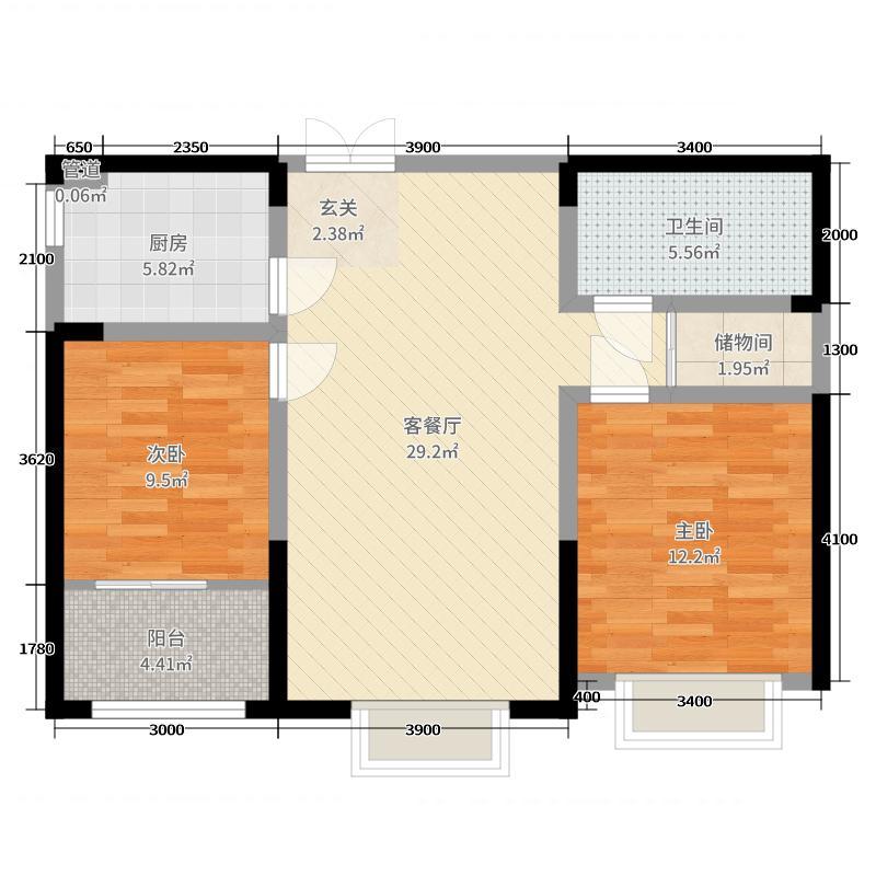 舜兴东方95.00㎡F户型2室2厅1卫1厨