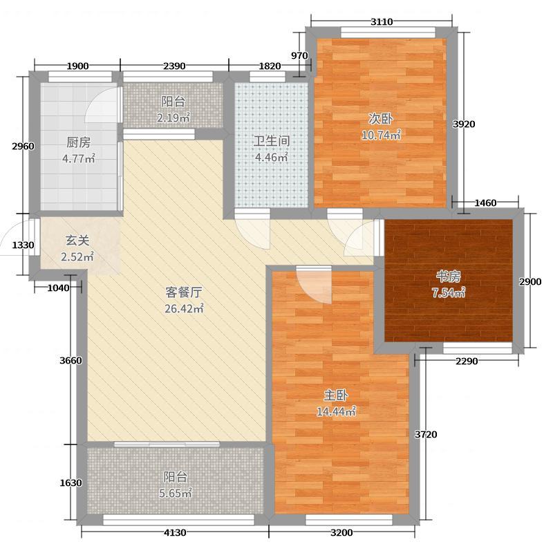 青国青城95.27㎡12号楼A户型3室3厅1卫1厨
