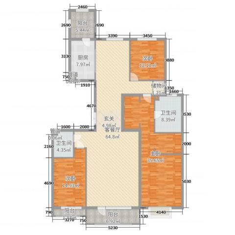 梧桐府3室2厅2卫1厨205.00㎡户型图