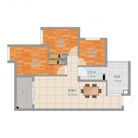 浩博天地3室2厅1卫1厨95.00㎡户型图