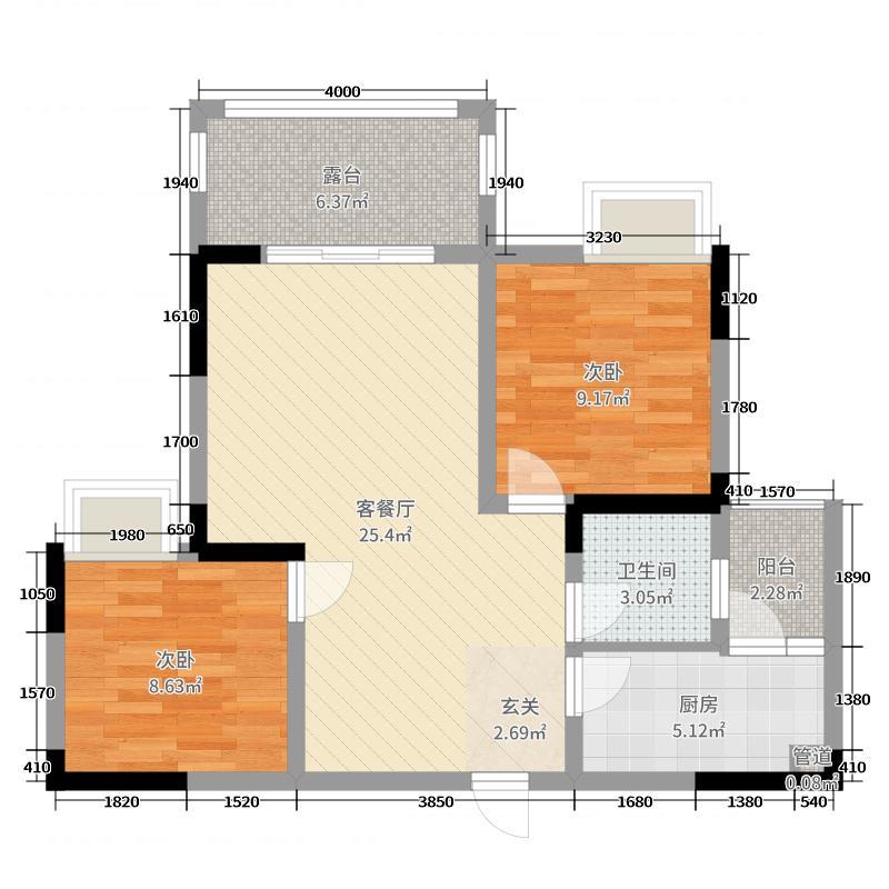 春天国际69.00㎡一期10号楼标准层A2户型2室2厅1卫1厨