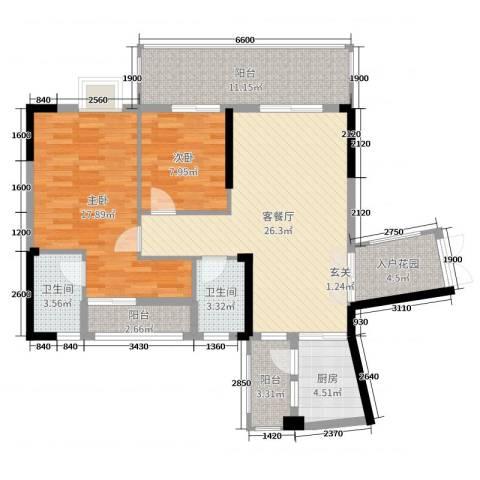 博达汇峰2室2厅2卫1厨105.00㎡户型图