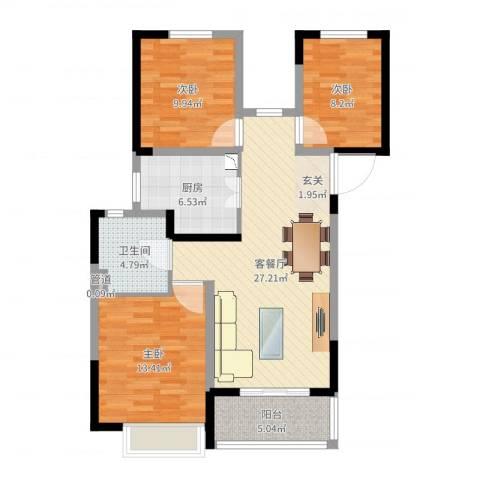 常熟新世纪花苑3室2厅2卫1厨94.00㎡户型图