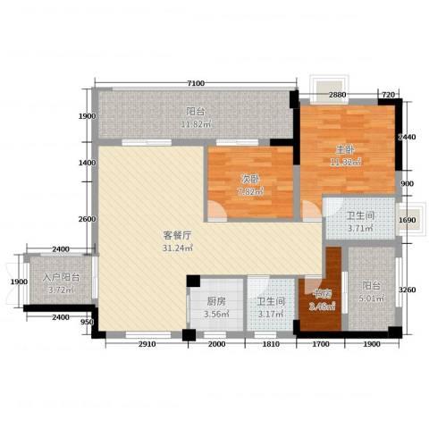 博达汇峰3室2厅2卫1厨106.00㎡户型图