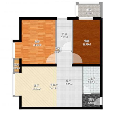 北京上舍2室2厅1卫1厨100.00㎡户型图