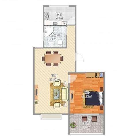 新芦苑1室1厅1卫1厨62.00㎡户型图