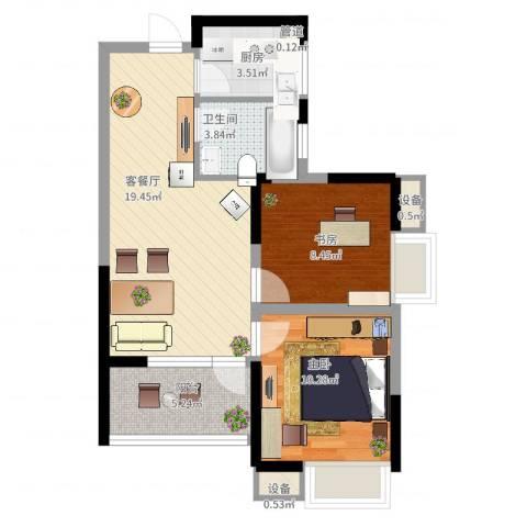 瑞泽源一里洋房2室2厅1卫1厨76.00㎡户型图