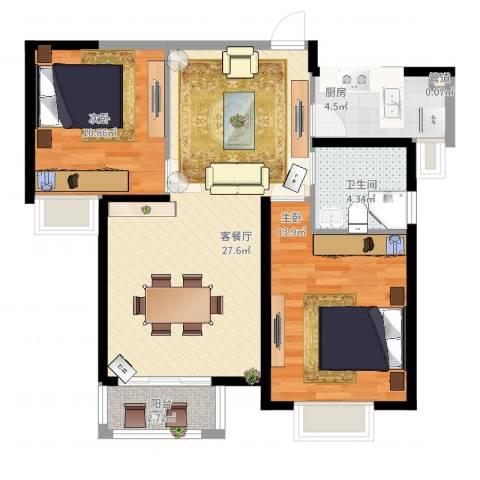 蓝鼎滨湖假日枫丹苑2室2厅1卫1厨90.00㎡户型图