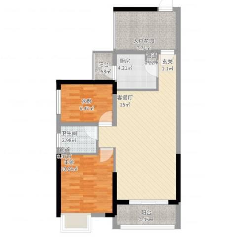 龙光城2室2厅1卫1厨91.00㎡户型图