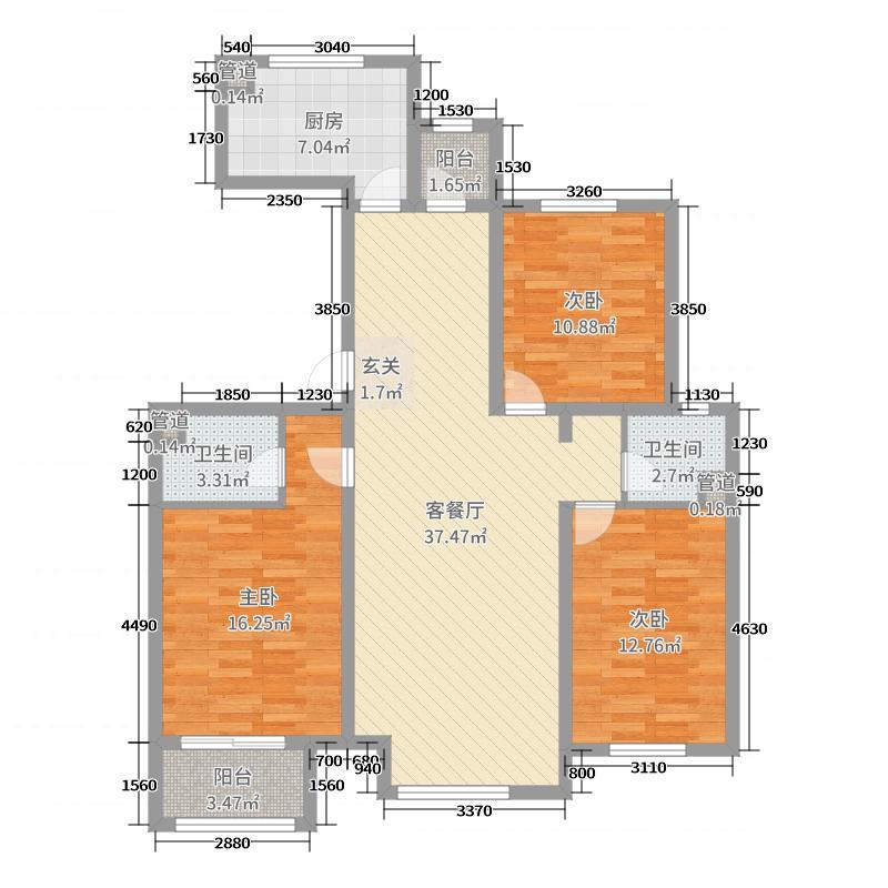 乐陶郡120.00㎡3居户型3室3厅2卫1厨