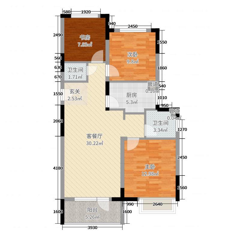 华润中央公园96.00㎡三期标准层B户型3室3厅1卫1厨
