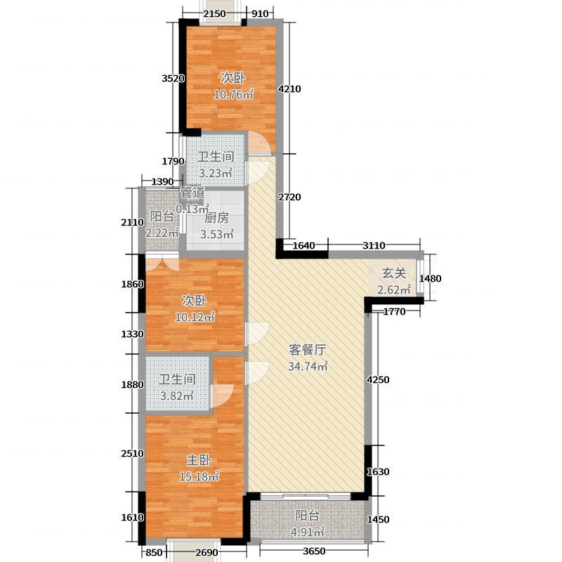 德天广场116.00㎡8栋1、3单元2户型3室3厅2卫1厨
