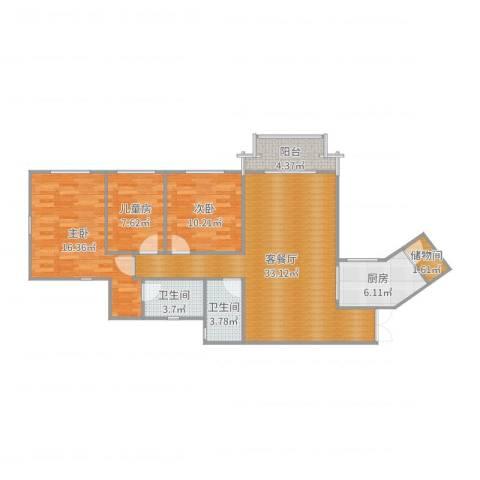 祈福新村迎风阁3室2厅2卫1厨109.00㎡户型图