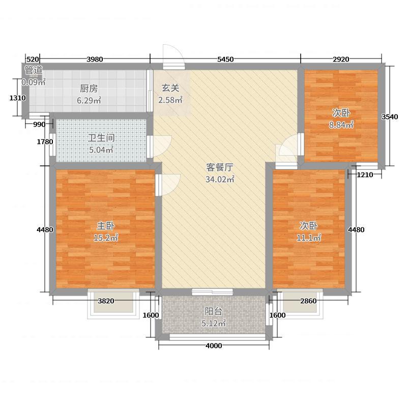 盛世家园107.20㎡35#楼高层中间户B户型3室3厅1卫1厨