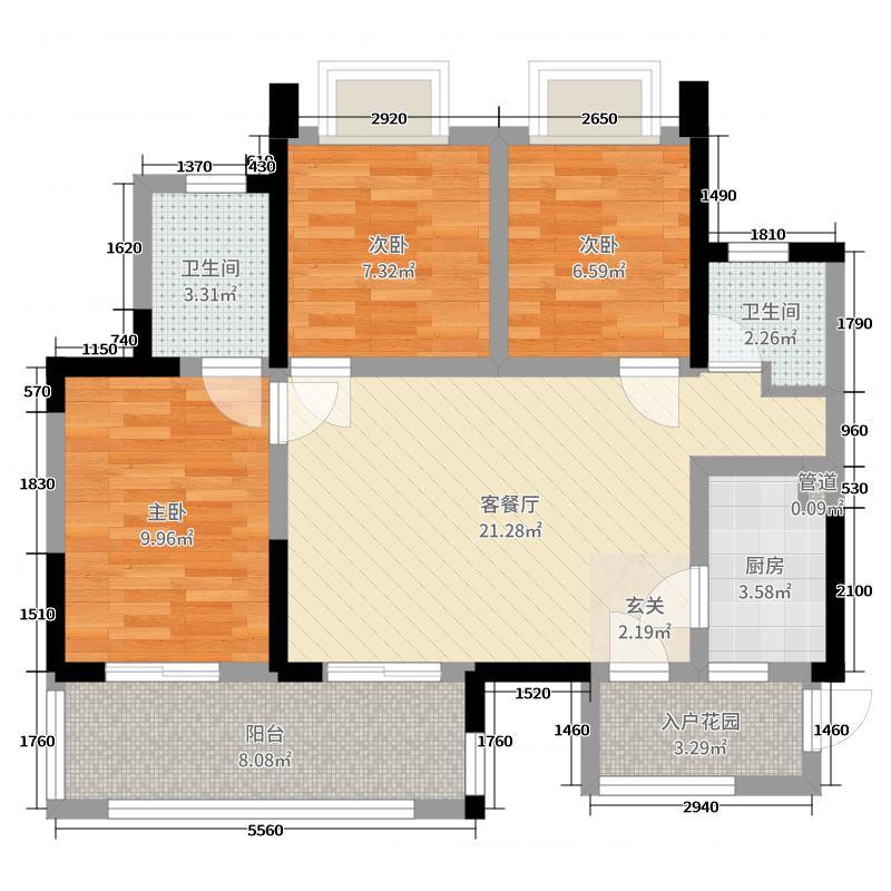 泰江兰庭100.14㎡二期11-18栋标准层A1户型3室3厅2卫1厨