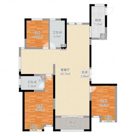 新洲・欧洲城3室2厅2卫1厨168.00㎡户型图