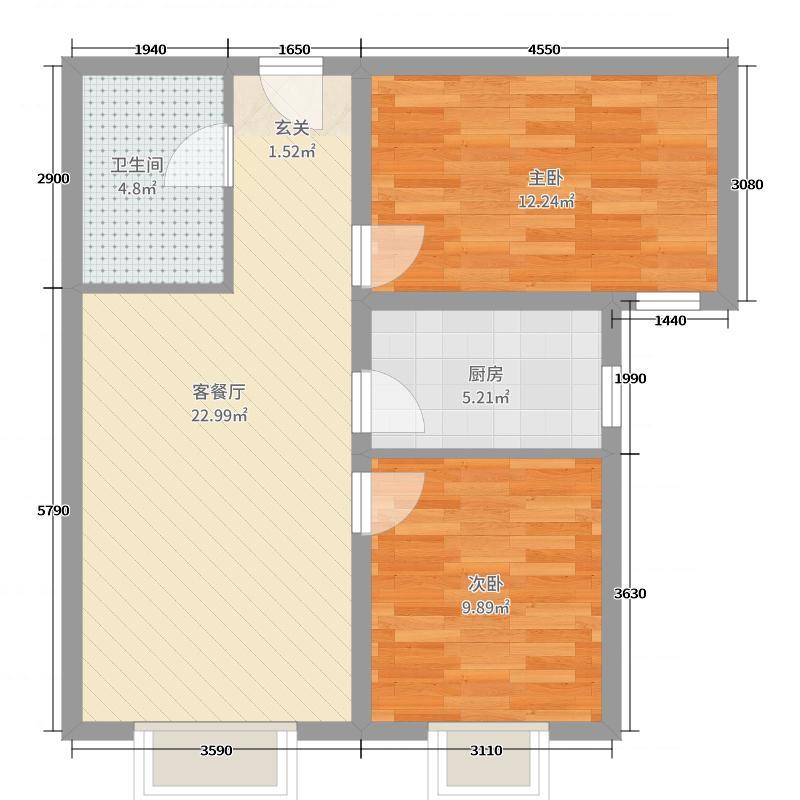 上上城理想新城83.00㎡18#、19#、22#楼两居户型2室2厅1卫1厨