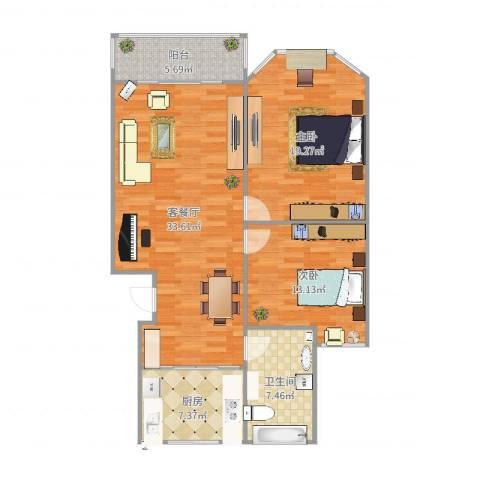 欧典家园2室2厅1卫1厨108.00㎡户型图