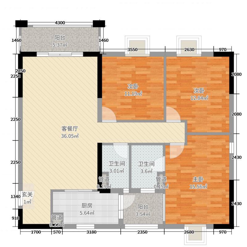荔湾新城・欣悦湾123.00㎡H户型3室3厅2卫1厨