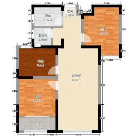 中南世纪锦城3室2厅1卫1厨95.00㎡户型图