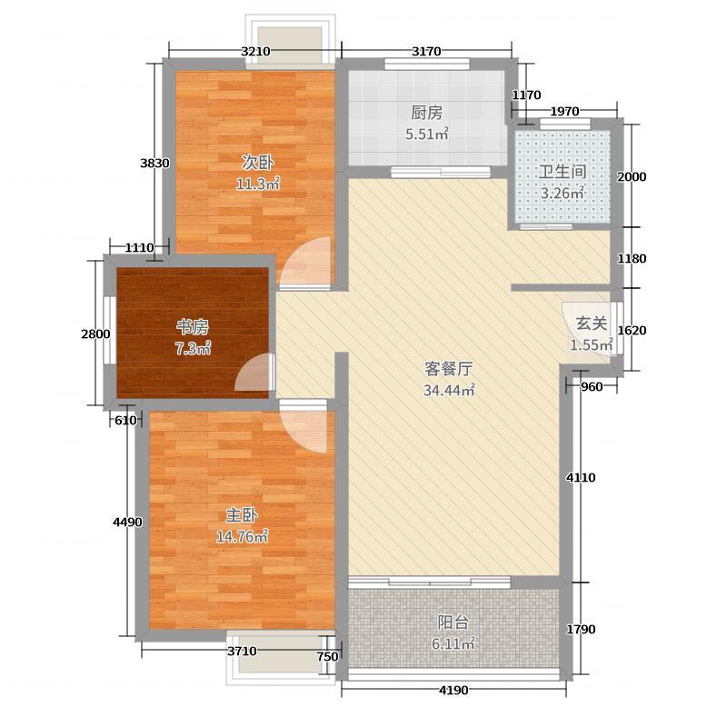 鼎盛・凤凰城103.84㎡B2户型3室3厅1卫1厨