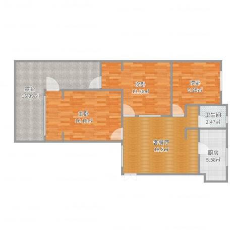 宝山九村3室2厅1卫1厨102.00㎡户型图