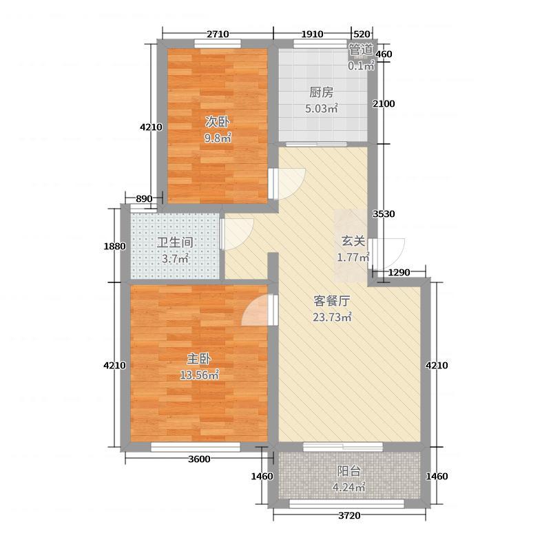 盛世家园75.30㎡E户型2室2厅1卫1厨